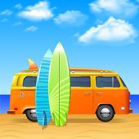Bus met surfplanken vector