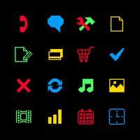 Gekleurde pixelpictogrammen die voor online het winkelen worden geplaatst
