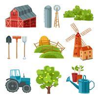 Boerderij decoratieve veelkleurige set vector