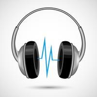 Hoofdtelefoons en geluidsgolfposter vector
