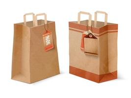 Winkelen papieren zakken en verkoop labels sjabloon vector
