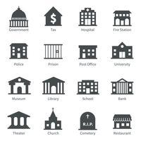 Overheidsgebouwen pictogrammen