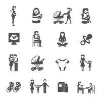 Moederschap Icons Set vector