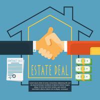 Handen handdruk landgoed deal concept vector