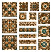 Stel verzamelingen geometrische randen en tegels in vector