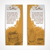Vetical retro koffie set banners vector