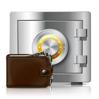 Lederen portemonnee en kluis met codeslot vector