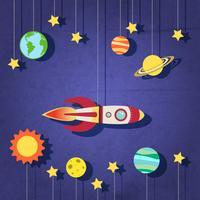 Papieren raket in de ruimte