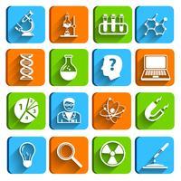 Wetenschap laboratorium pictogrammen instellen vector