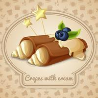 Pannenkoeken met crème embleem vector