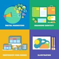 Marketing pictogrammen instellen vector