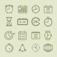 eenvoudige tijd- en kalenderpictogrammen vector