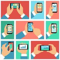 Inzameling van handen die mobiele telefoon met behulp van
