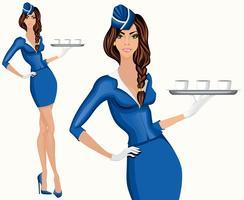 Jonge vrouw stewardess