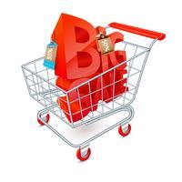 Winkelwagen verkoop embleem vector