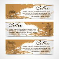 Horizontale retro koffie set banners vector