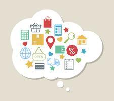 Online winkelen met tevreden tevreden klant vector