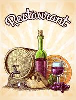 Wijn kaas en brood poster