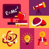 Natuurkunde plat ontwerp pictogrammen instellen vector