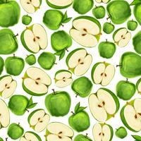 Naadloos appelfruit gesneden patroon vector