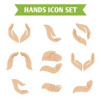 De greep van de hand beschermt pictogrammen
