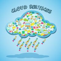 Cloud netwerktechnologie service embleem vector