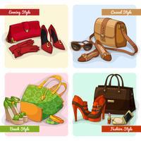Set van damestassen schoenen en accessoires vector