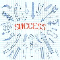 Succes pijlen pictogram schets vector