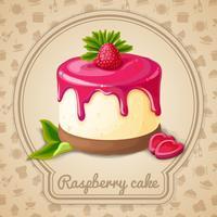 Raspberry cake embleem vector