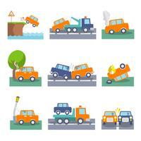 Auto-ongeluk pictogrammen