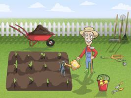 Gelukkig tuinman karakter op het werk