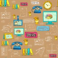 Naadloze zakelijke kantoorbenodigdheden patroon vector