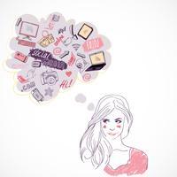 Meisje dat over sociale media technologie denkt vector