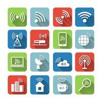 Draadloze communicatie netwerk Icons Set