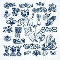 Bladeren schets set vector