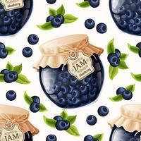 Blueberry jam naadloze patroon vector