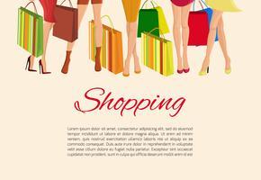 Winkelen meisje benen poster vector