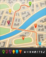 Stadskaart met navigatiepictogrammen vector