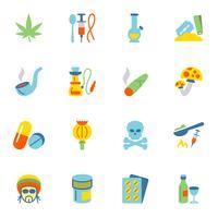 Drugs pictogrammen plat vector