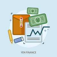 Yen Financiën Conceptueel illustratieontwerp vector
