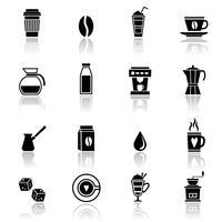 Koffie pictogrammen zwart