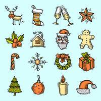 Kerst iconen instellen kleur vector