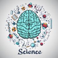 Brain schets wetenschap concept vector