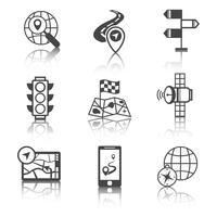 Mobiele navigatiepictogrammen zwart en wit vector