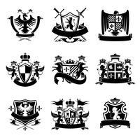 Heraldische emblemen zwart vector