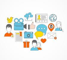 Sociale pictogrammen vlakke reeks vector