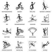 Extreme sporten Icons Set vector