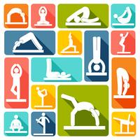 Yoga oefeningen pictogrammen plat vector