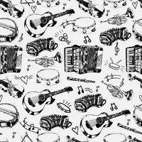 Muziekinstrumenten naadloos patroon vector