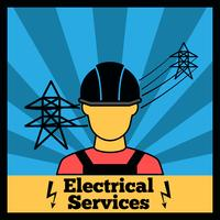 Elektriciteitspictogramaffiche vector